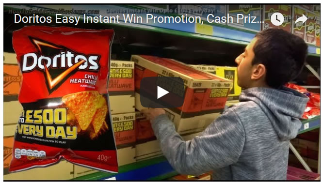 Doritos Easy Instant Win Promotion, Cash Prizes Upto £500 per Day!