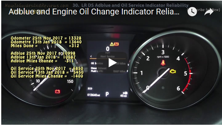 Adblue and Engine Oil Change Indicator Reliability - Land Rover Discovery Sport