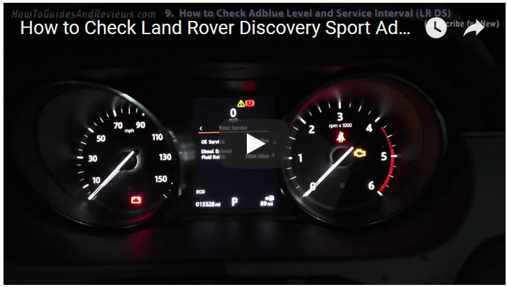 How to Check Land Rover Discovery Sport Adblue and Oil Change Service Interval Levels