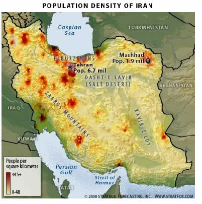 Population Density of Iran