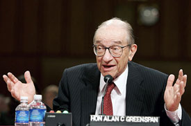 "The crisis is entirely the work of Fed Chairman, Alan Greenspan, whose ""cheap money"""