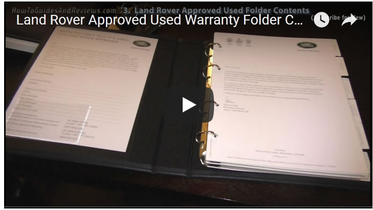Land Rover Approved Used Warranty Folder Contents