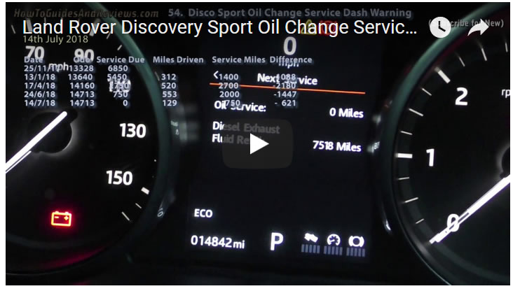 Land Rover Discovery Sport Oil Change Service Dash Warning Message