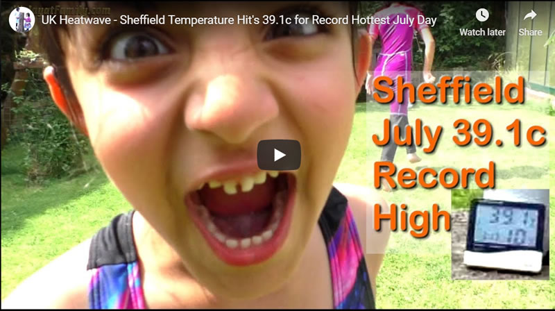 UK Heatwave Sheffield Temperature Hit's 39.1c for Record Hottest July Day