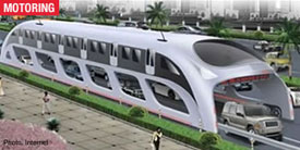 China's 3D Express Coach, which straddles the highway, could revolutionize public transportation.